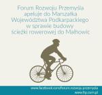 Apel Stowarzyszenia Forum Rozwoju Przemyśla w sprawie budowy ściezki rowerowej do Malhowic